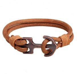 Bracelet homme cuir  chocolat, fermoir ancre bronze