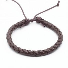 bracelet cuir tressé  couleur noir ou  chocolat
