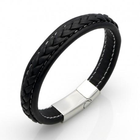 bracelet cuir noir ou marron surpiqu fil blanc bracelets homme. Black Bedroom Furniture Sets. Home Design Ideas