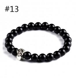 """bracelet  perles noires et"""" crâne """""""