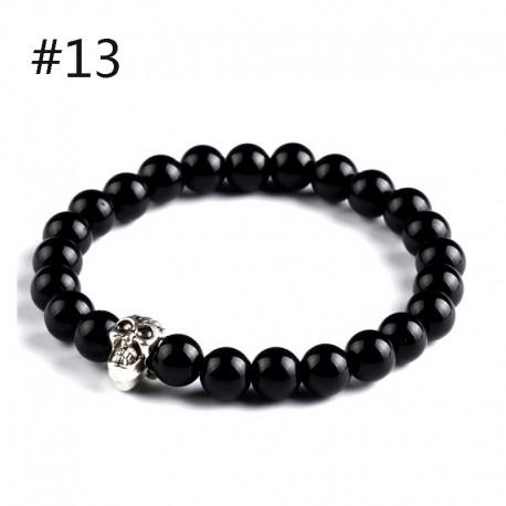 """bracelet oeil du tigre , perles noires et"""" crâne """" argenté"""