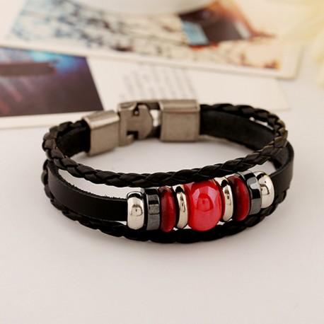 bracelet cuir noir et perles rouges