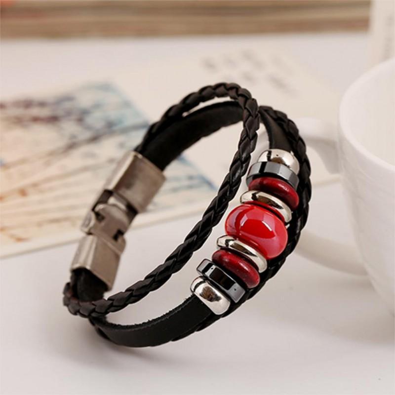bracelet cuir noir rouge