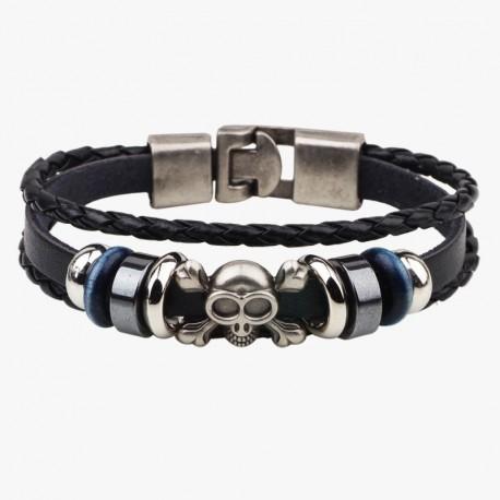 """bracelet cuir noir """"tête de mort"""""""
