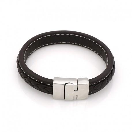 bracelet cuir tressé surpiqué fil blanc