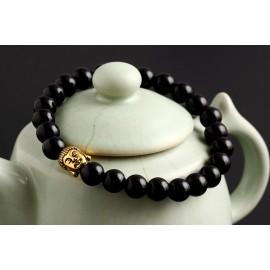 """bracelet perles noires """"bouddha doré"""""""