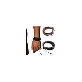 duo de 2 bracelets cuir noir ou marron