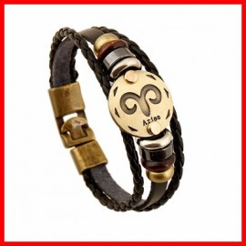 bracelet cuir signe zodiaque BELIER