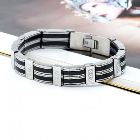 bracelet acier et silicone