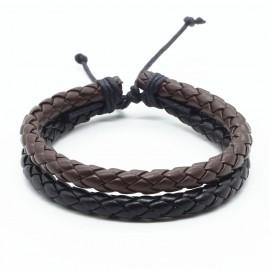 bracelet double en cuir tressé noir et marron