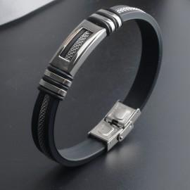 bracelet homme silicone et acier